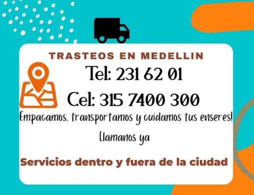 teléfonos de contacto trasteos en Medellín